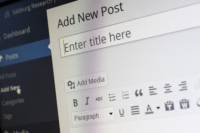 wordpressのブログ入力画面
